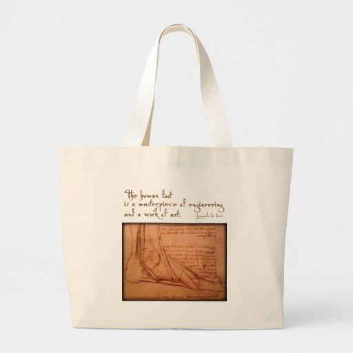 """da Vinci: """"El pie humano es… """" Bolsa Tela Grande"""