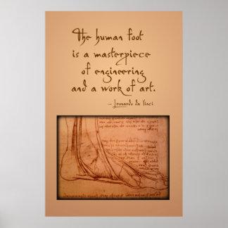 """da Vinci: """"El pie humano es… """" Poster"""