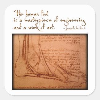 """da Vinci: """"El pie humano es… """" Pegatina Cuadrada"""