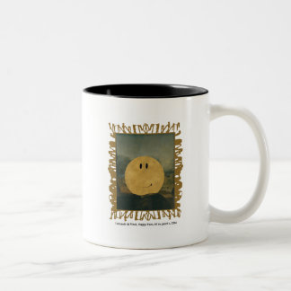 da vinci happy face Two-Tone coffee mug