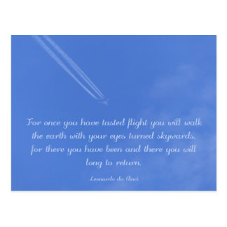Da Vinci inspirational flight quote Postcard