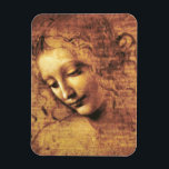 "Da Vinci La Scapigliata Magnet<br><div class=""desc"">Leonardo da Vinci La Scapigliata magnet. Study on panel from 1508. One of da Vinci's most captivating studies, La Scapigliata or Head of a Woman was most likely a study of the Madonna and dates from the artist's mature period. A beautiful work composed of earth, amber and white lead, this...</div>"