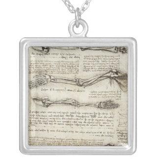 Da Vinci, Leonardo - Study of Anatomy Square Pendant Necklace