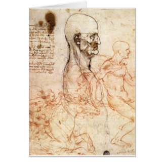 da Vinci -- Man and Horse Sketch Greeting Card