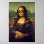 da Vinci Mona Lisa in Cool Hipster Glasses Art Poster