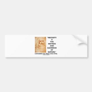 da Vinci Necessity Mistress Guardian Of Nature Bumper Sticker