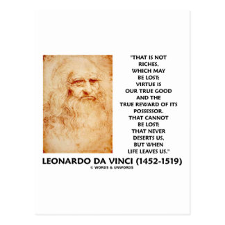 da Vinci Not Riches Lost Virtue Is Our True Good Postcard