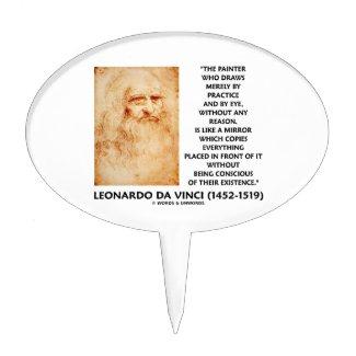 da Vinci Painter Practice Eye Reason Mirror Quote Cake Picks