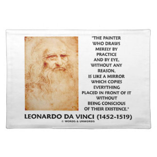 da Vinci Painter Practice Eye Reason Mirror Quote Cloth Placemat