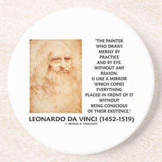 da Vinci Painter Practice Eye Reason Mirror Quote Drink Coasters