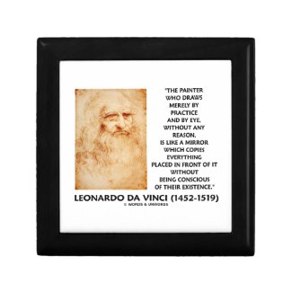 da Vinci Painter Practice Eye Reason Mirror Quote Keepsake Box