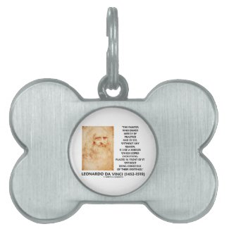 da Vinci Painter Practice Eye Reason Mirror Quote Pet Tags