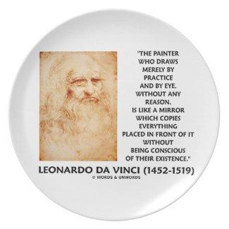 da Vinci Painter Practice Eye Reason Mirror Quote Plates
