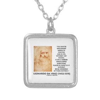 da Vinci Painter Practice Eye Reason Mirror Quote Square Pendant Necklace