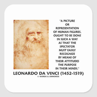 da Vinci Picture Representation Figures Purpose Square Sticker