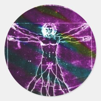Da Vinci proportion man colorized blacklight Classic Round Sticker