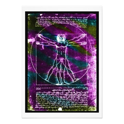 Da Vinci proportion man colorized blacklight Invite