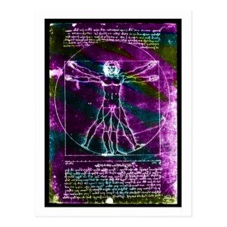 Da Vinci proportion man colorized blacklight Postcard