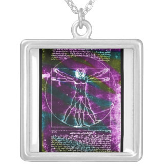 Da Vinci proportion man colorized blacklight Silver Plated Necklace