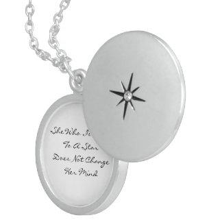 Da Vinci Quote: Fixed to a Star Round Locket Necklace
