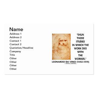 da Vinci Shun Those Studies Work Dies Worker Double-Sided Standard Business Cards (Pack Of 100)