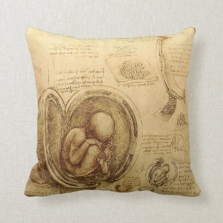 Da Vinci Studies of Embryos MoJo Throw Pillow
