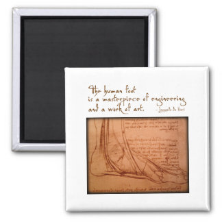 "da Vinci: ""The human foot is..."" 2 Inch Square Magnet"