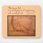 "da Vinci: ""The human foot is..."" Mousepads"
