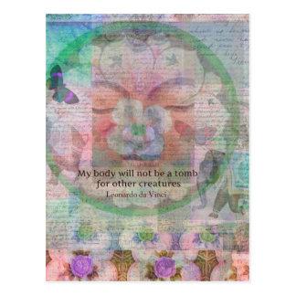 Da Vinci Vegetarian quote Postcard