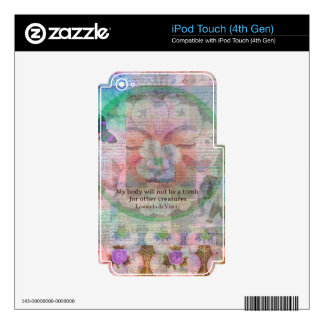 Da Vinci Vegetarian quote Skins For iPod Touch 4G