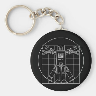 Da Vinci Vitruvian Robot Basic Round Button Keychain