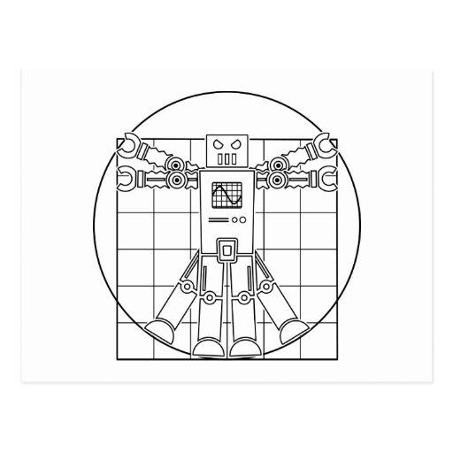Da Vinci Vitruvian Robot Postcard
