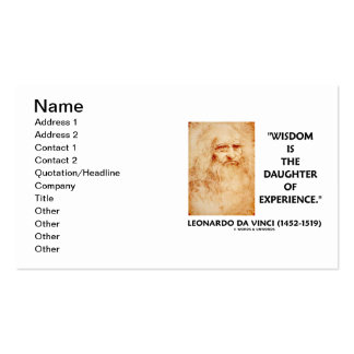 da Vinci Wisdom Is The Daughter Of Experience Double-Sided Standard Business Cards (Pack Of 100)