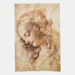 Da Vinci Woman's Head Kitchen Towel