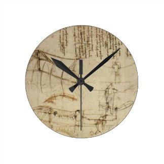 Da Vinci's Flying Contraption Round Wallclock
