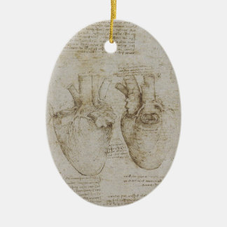 Da Vinci's Human Heart Anatomy Sketches Ceramic Ornament