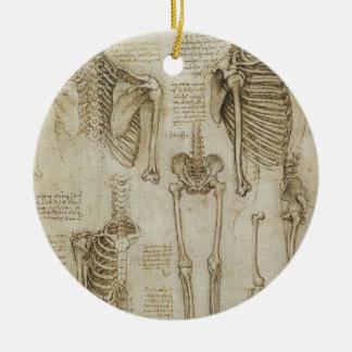 Da Vinci's Human Skeleton Anatomy Sketches Ceramic Ornament