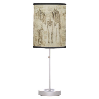 Da Vinci's Human Skeleton Anatomy Sketches Desk Lamp