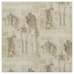 Da Vinci's Human Skeleton Anatomy Sketches Fabric