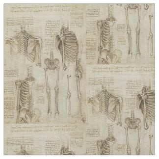Da Vinci's Human Skeleton Anatomy Sketches Fabric