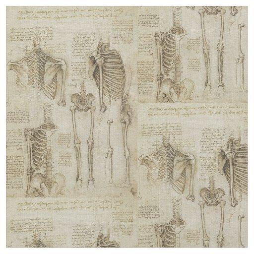 Da Vinci\'s Human Skeleton Anatomy Sketches Fabric | Zazzle.com