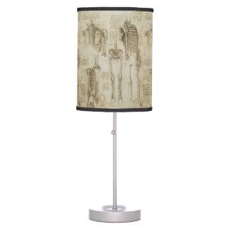 Da Vinci's Human Skeleton Anatomy Sketches Table Lamps