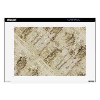 "Da Vinci's Human Skeleton Anatomy Sketches 15"" Laptop Decal"