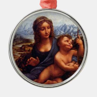 Da Vinci's Madonna of the Yarnwinder Metal Ornament