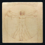 "Da Vinci&#39;s Vitruvian Man Stone Coaster<br><div class=""desc"">Leonardo da Vinci&#39;s drawing is based on the correlations of ideal human proportions with geometry described by the ancient Roman architect Vitruvius in Book III of his treatise De Architectura.</div>"