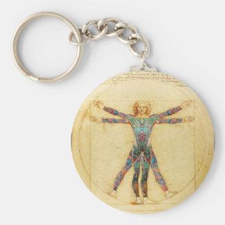 Da Vinci's Vitruvian man with tattoos Keychain