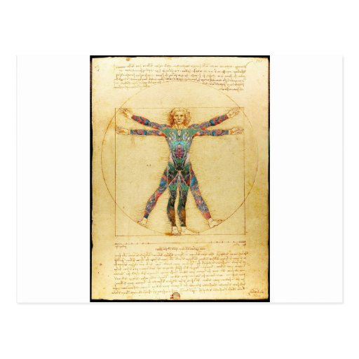 Da Vinci's Vitruvian man with tattoos Post Cards