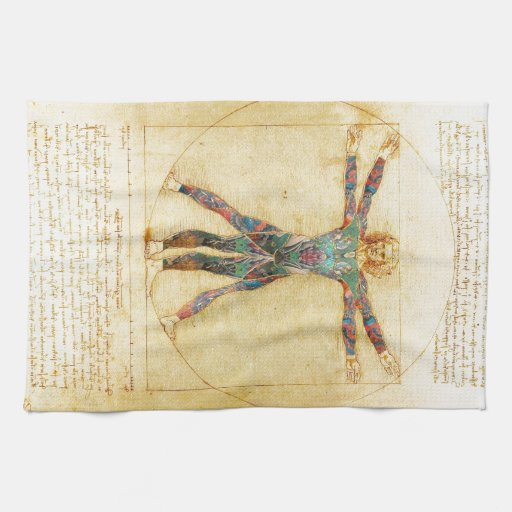 Da Vinci's Vitruvian man with tattoos Towels