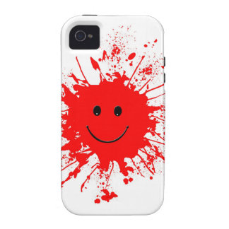 dab-93947 BRIGHT RED HAPPY FACE SPLATTERS dab, PAI iPhone 4/4S Covers