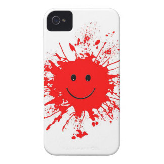 dab-93947 BRIGHT RED HAPPY FACE SPLATTERS dab, PAI iPhone 4 Covers